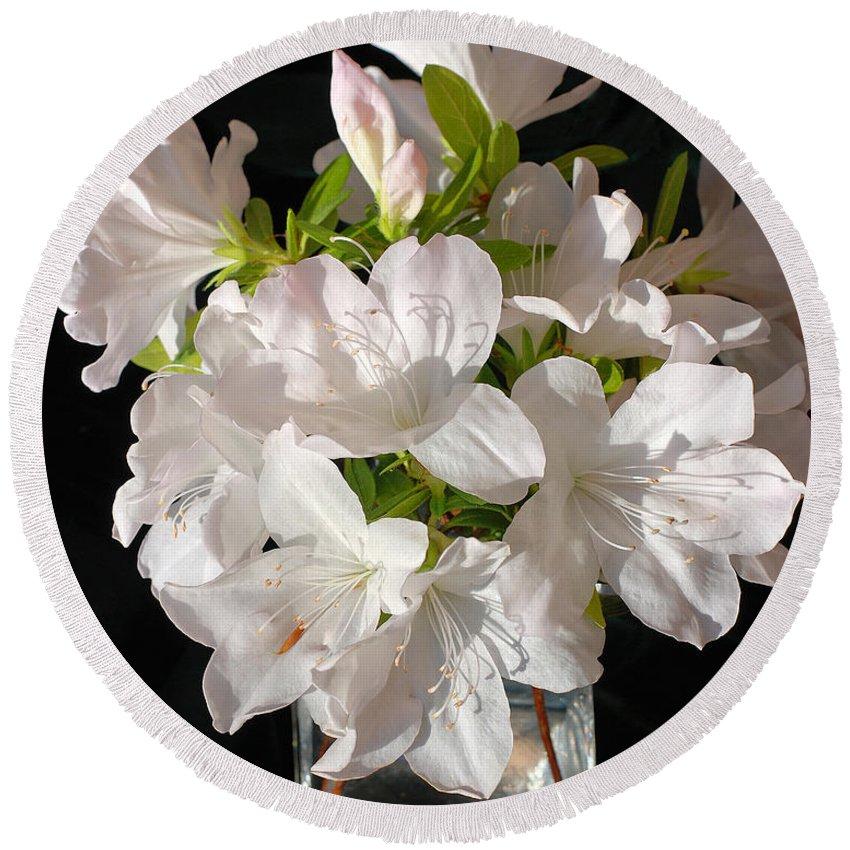 Azalea Round Beach Towel featuring the photograph White Azalea Bouquet In Glass Vase by Connie Fox