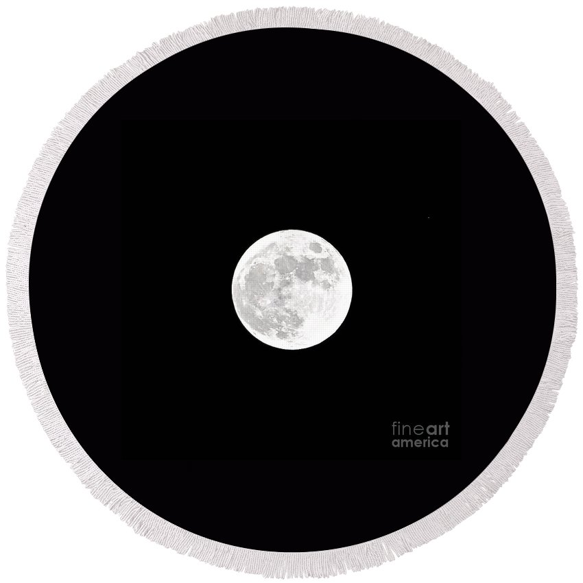 White Balance Round Beach Towel featuring the photograph White Balance Full Moon by Bridgette Gomes