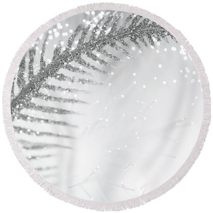 Abstract Round Beach Towel featuring the photograph White Bird by Dazzle Zazz