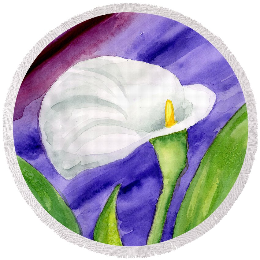 Floral Round Beach Towel featuring the painting White Calla Lily Purple Mood by Annie Troe