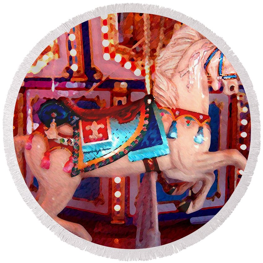 Horses Round Beach Towel featuring the painting White Carousel Horse by Amy Vangsgard