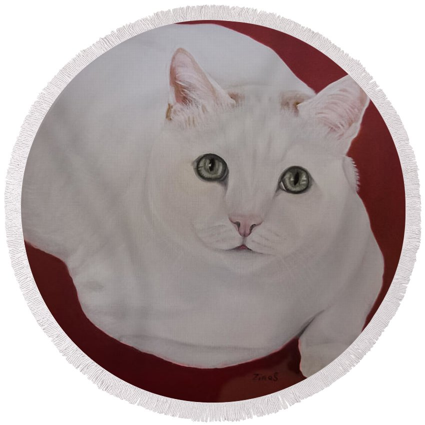 White Cat Round Beach Towel featuring the painting White Cat by Zina Stromberg