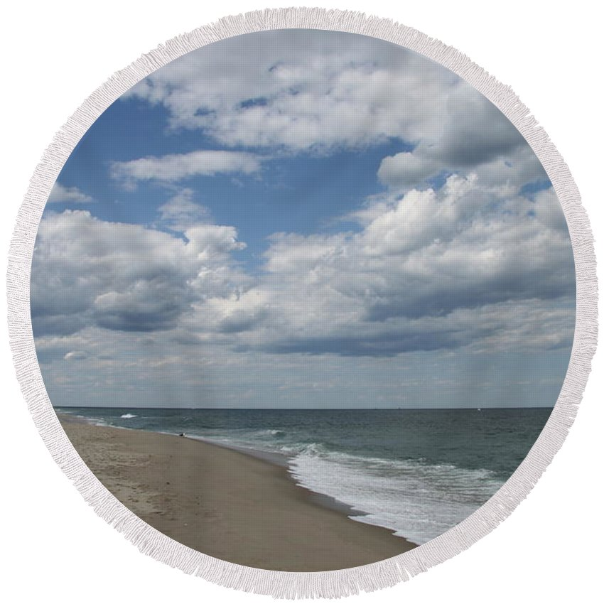 Clouds Round Beach Towel featuring the photograph White Clouds Over The Ocean by Christiane Schulze Art And Photography