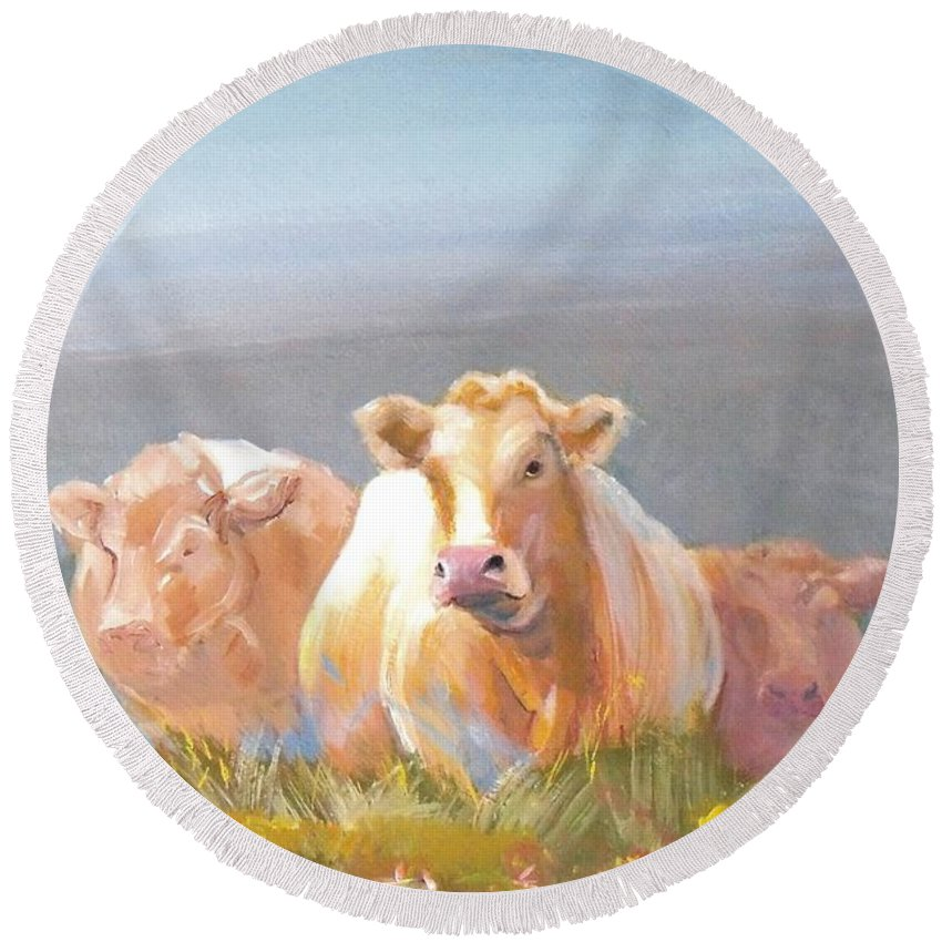 Cow Round Beach Towel featuring the painting White Cows Painting by Mike Jory