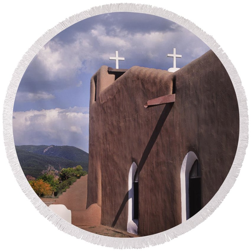 Catholic Round Beach Towel featuring the photograph White Crosses At Taos by David and Carol Kelly