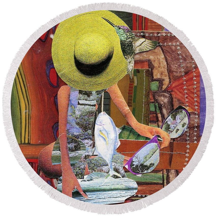 The Green Hat. A Mixed Media Art Collage. Round Beach Towel featuring the mixed media The Green Hat by Patsy Stanley