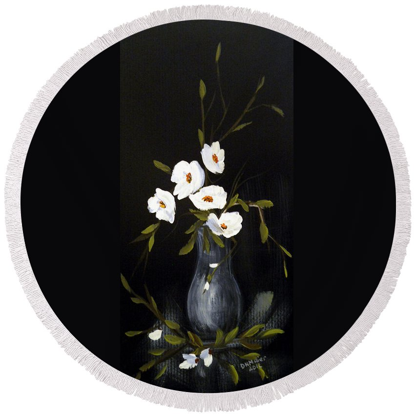 Vase Painting Round Beach Towel featuring the painting White Flowers In A Vase by Dorothy Maier