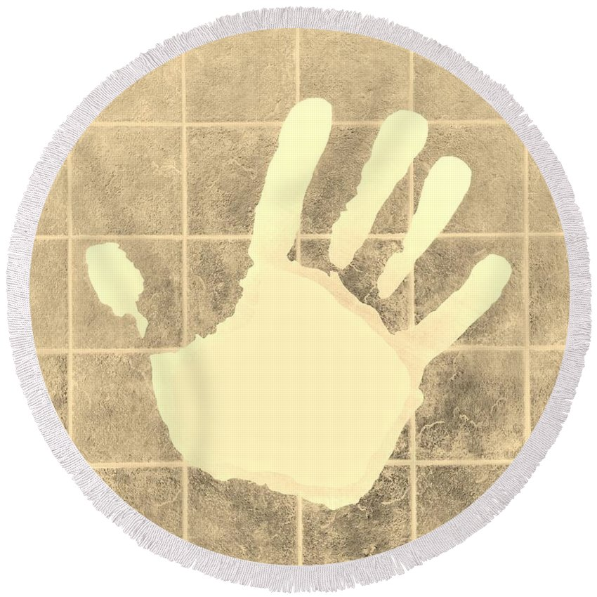 Hand Round Beach Towel featuring the photograph White Hand Sepia by Rob Hans