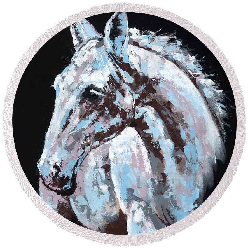 Abstract Horse Round Beach Towel featuring the painting White Horse by Konni Jensen