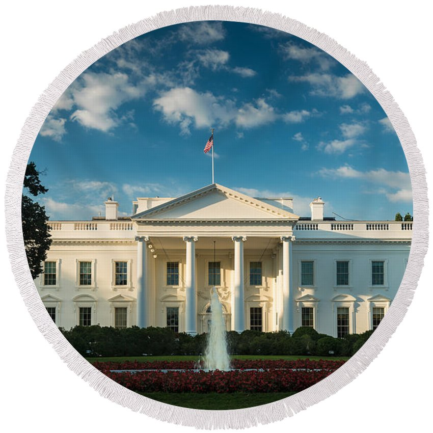 White Round Beach Towel featuring the photograph White House Sunrise by Steve Gadomski
