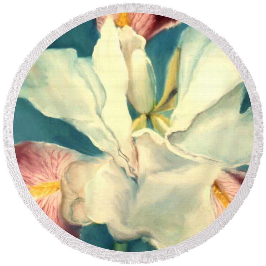 Flowers Round Beach Towel featuring the painting White Iris by Anni Adkins