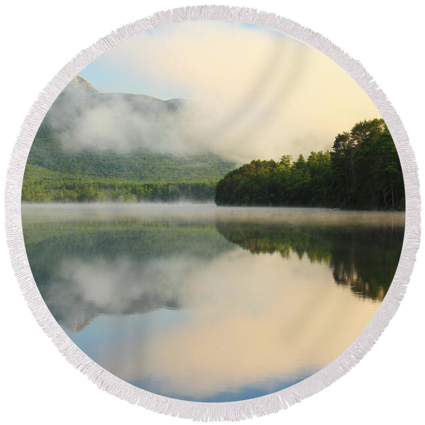 White Lake Round Beach Towel featuring the photograph Morning On Lake Chocorua by Roupen Baker