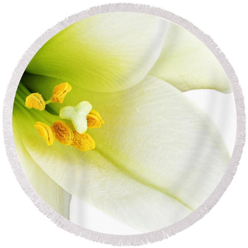 Beautiful Round Beach Towel featuring the photograph White lilly macro by Johan Swanepoel
