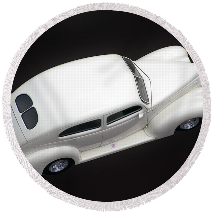 White Car Round Beach Towel featuring the photograph White Lines by Thomas Woolworth