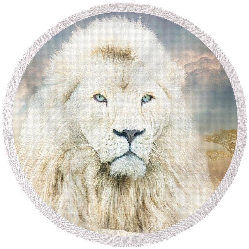 Lion Round Beach Towel featuring the mixed media White Lion - Spirit Of Goodness by Carol Cavalaris