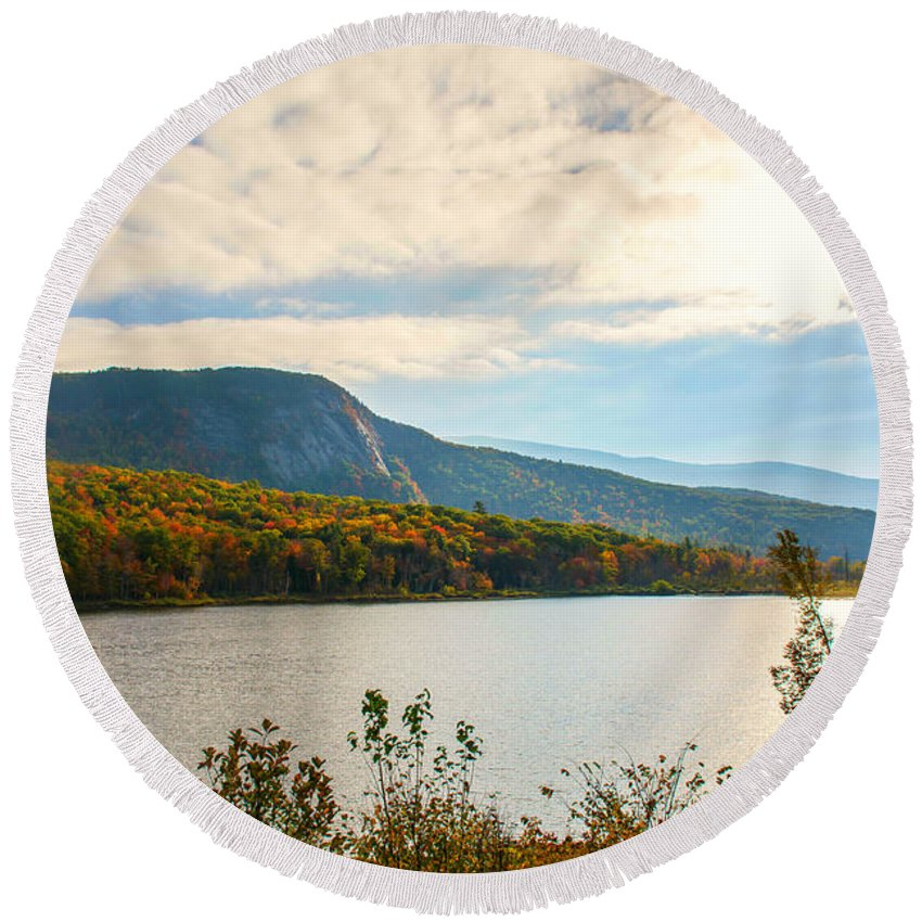 New Hampshire Round Beach Towel featuring the photograph White Mountain Range by Sherman Perry