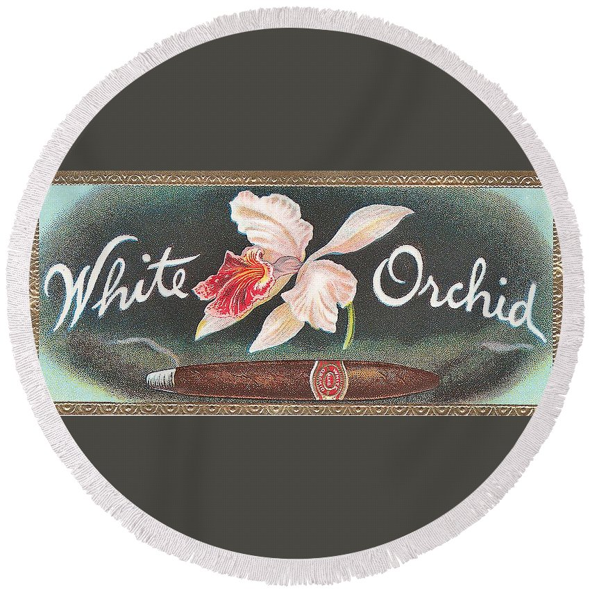 White Orchid Cigar Label Round Beach Towel featuring the digital art White Orchid Cigar Label by Label Art