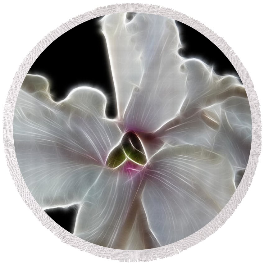 White Orchid Round Beach Towel featuring the photograph White Orchid by Mariola Bitner