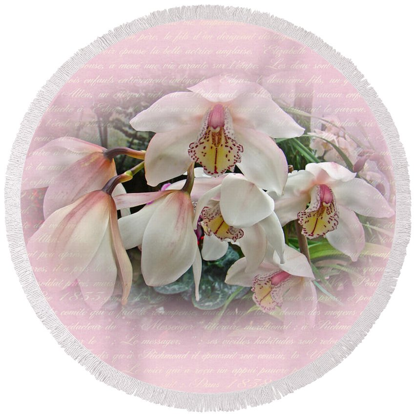 Orchid Round Beach Towel featuring the photograph White Orchids by Mother Nature