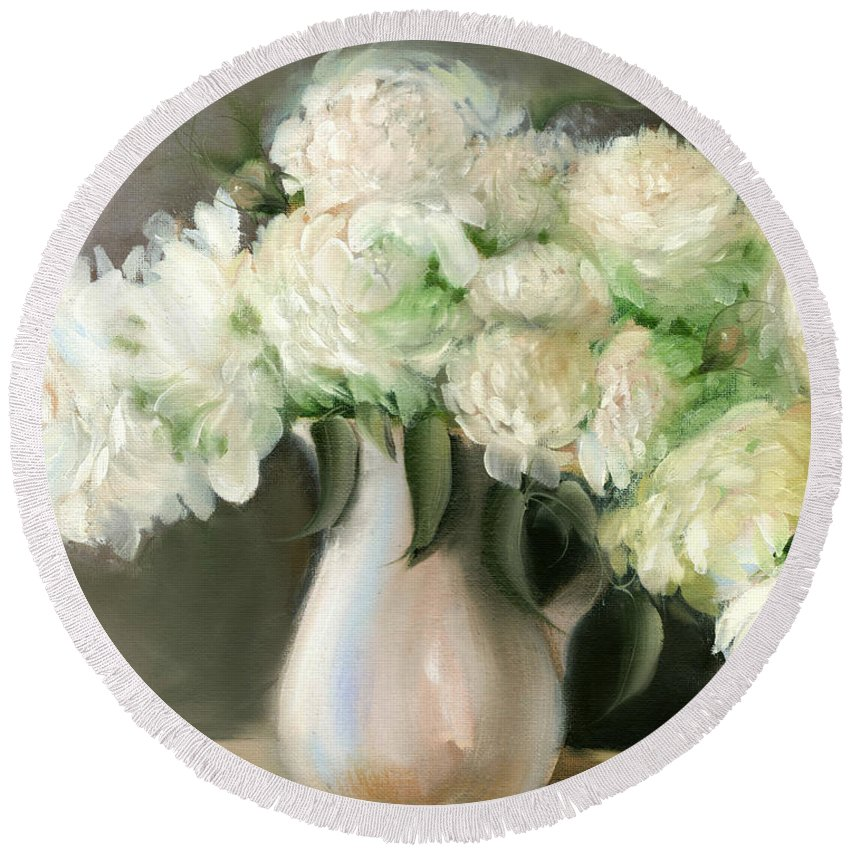 White Flowers Round Beach Towel featuring the painting White Peonies by Melissa Herrin