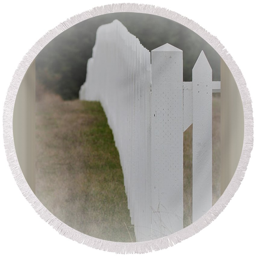 White Picket Fence Round Beach Towel featuring the photograph White Picket Fence by Marie Jamieson
