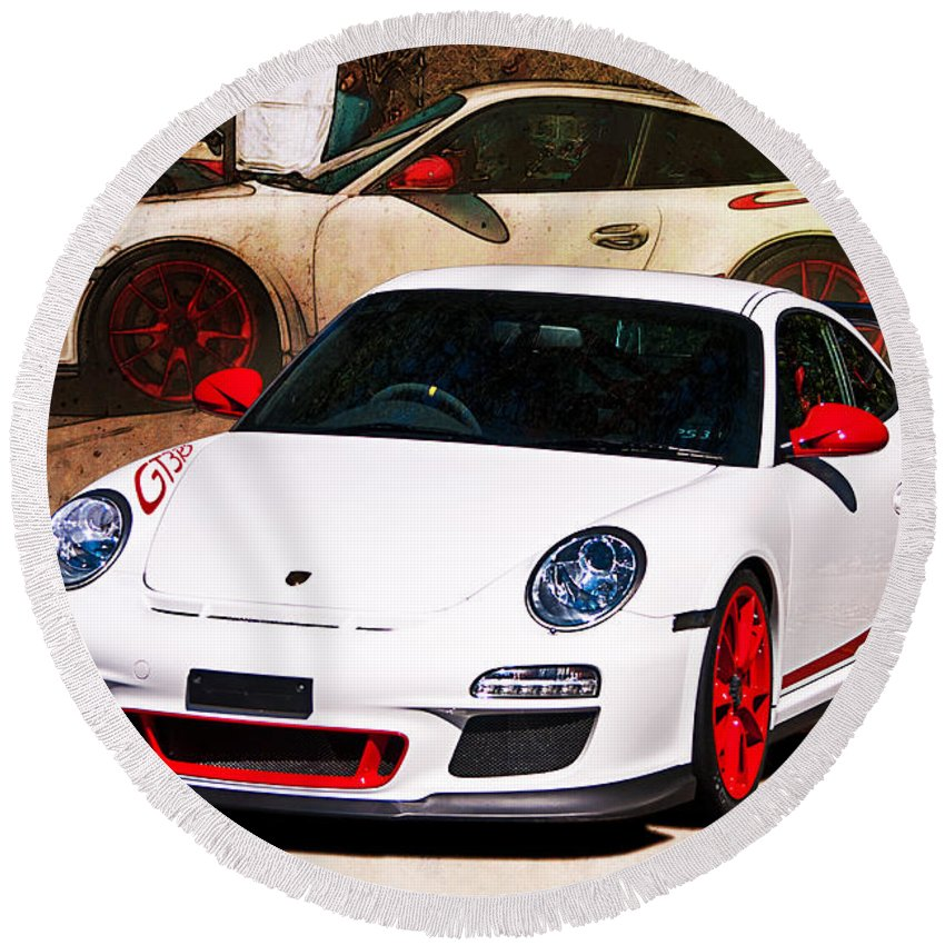 White Round Beach Towel featuring the photograph White Porsche Gt3rs by Stuart Row
