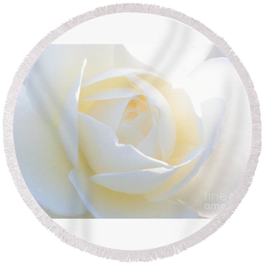 Rose Round Beach Towel featuring the photograph White Rose Energy by Carol Groenen