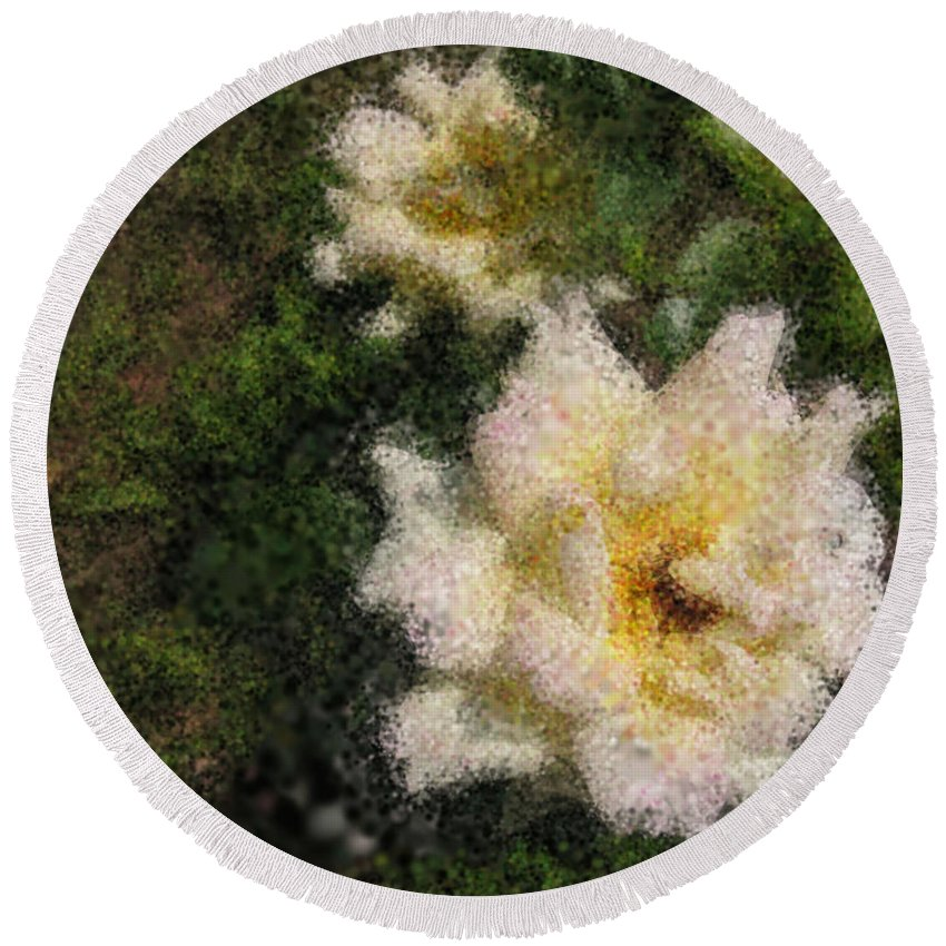 Paint Art Round Beach Towel featuring the photograph White Rose N My Backyard by Mario Carini