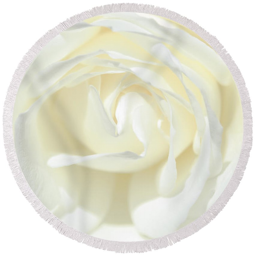 Closeup Of White Rose Round Beach Towel featuring the photograph White Rose by Tikvah's Hope