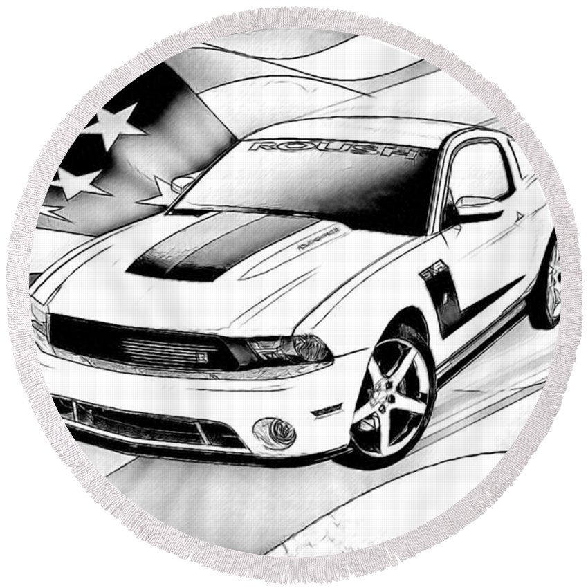 Ford Round Beach Towel featuring the digital art White Roush Mustang by Tommy Anderson