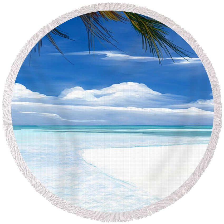 Seascape.seascape Art Round Beach Towel featuring the digital art White Sand And Turquoise Sea by Anthony Fishburne