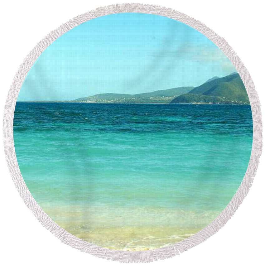 St Kitts Round Beach Towel featuring the photograph White Sand Blue Sky Blue Water by Ian MacDonald