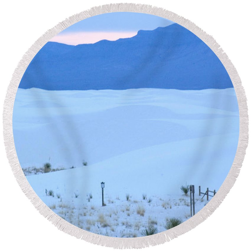 White Sands Round Beach Towel featuring the photograph White Sands New Mexico by Bob Pardue