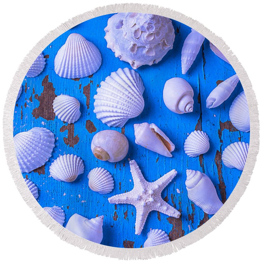 White Round Beach Towel featuring the photograph White Sea Shells On Blue Board by Garry Gay