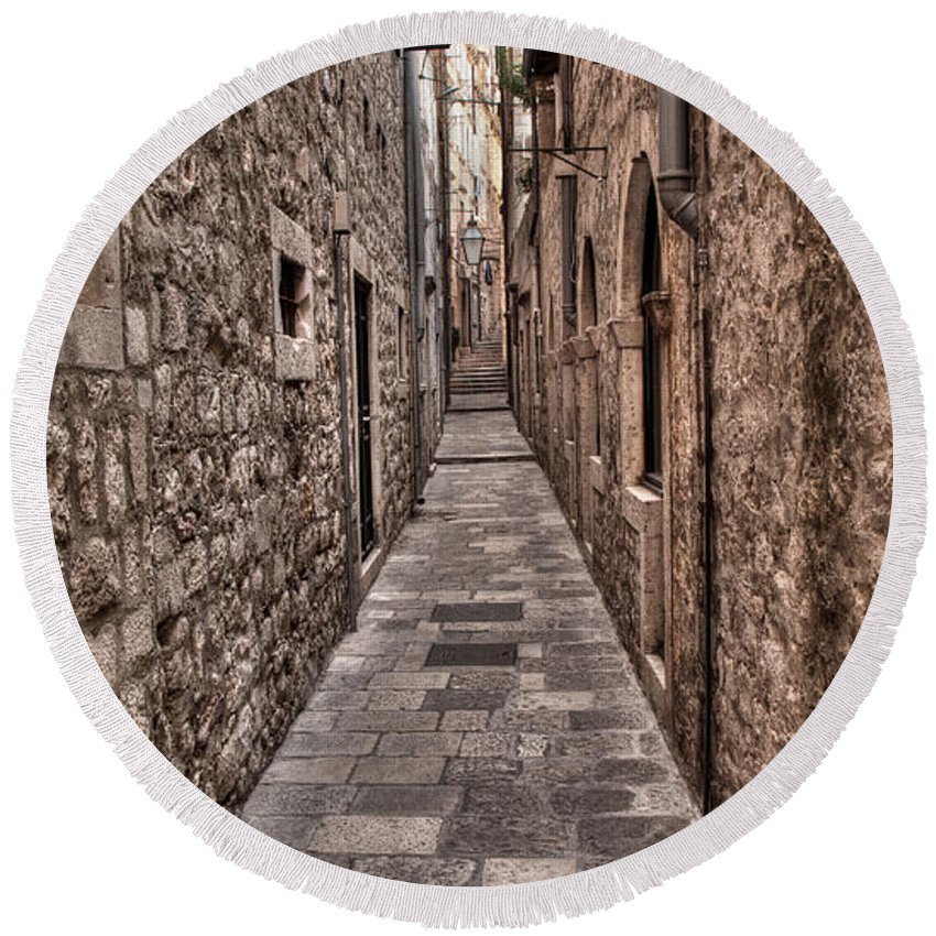 Dubrovnik Round Beach Towel featuring the photograph White Streets Of Dubrovnik No3 by Weston Westmoreland