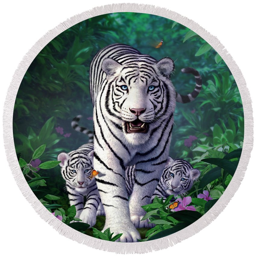 White Tigers Round Beach Towel featuring the digital art White Tigers by Jerry LoFaro