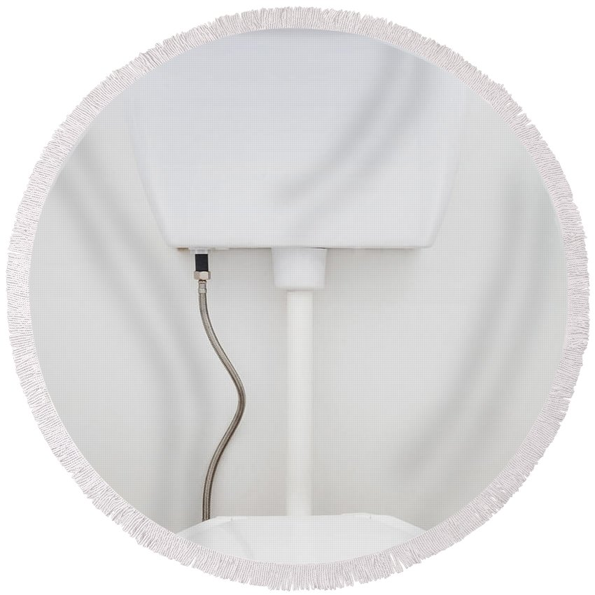 Background Round Beach Towel featuring the photograph White Toilet by Tim Hester