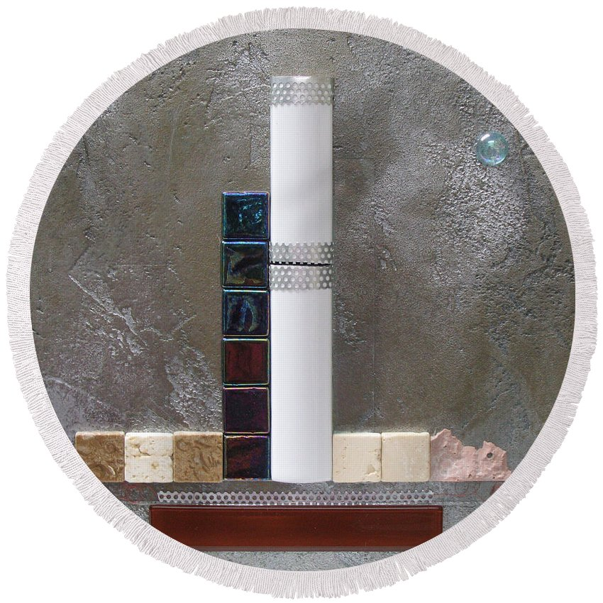 Assemblage Round Beach Towel featuring the relief White Tower by Elaine Booth-Kallweit