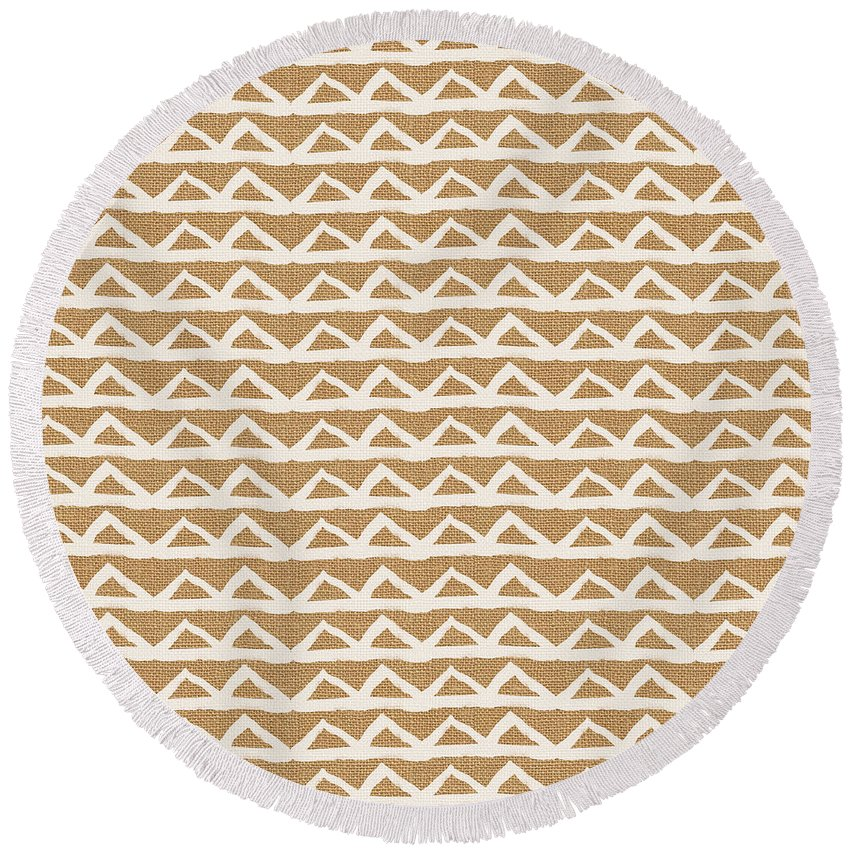 Triangles Round Beach Towel featuring the mixed media White Triangles on Burlap by Linda Woods