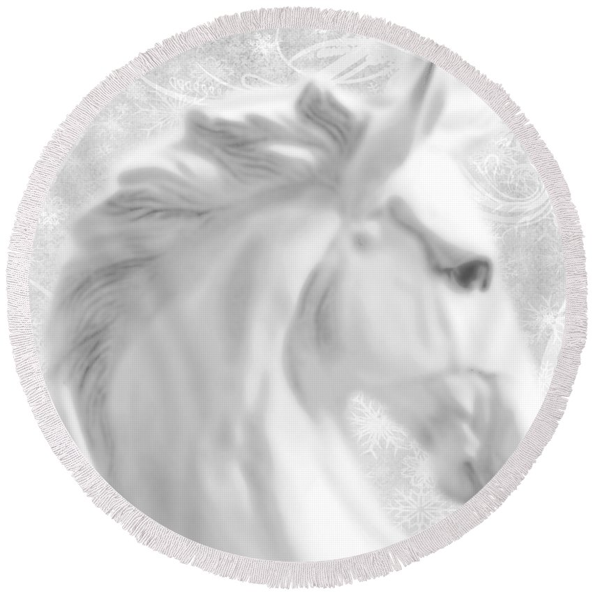 Statue Round Beach Towel featuring the painting White Winter Horse 1 by Tony Rubino