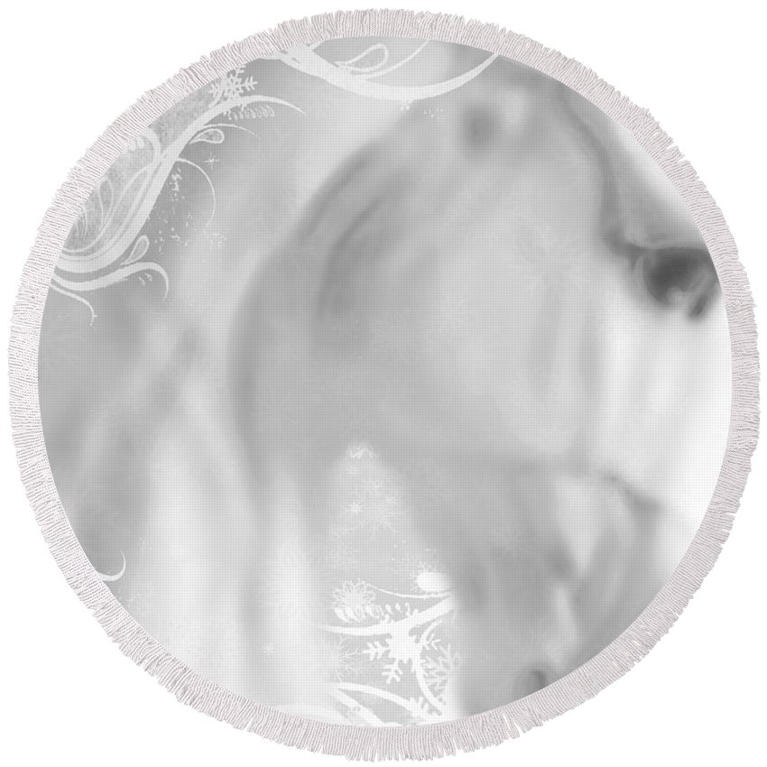 Statue Round Beach Towel featuring the painting White Winter Horse 2 by Tony Rubino
