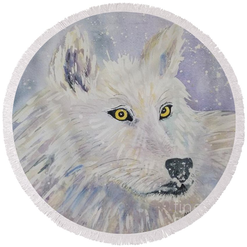White Wolf Round Beach Towel featuring the painting White Wolf Of The North Winds by Ellen Levinson