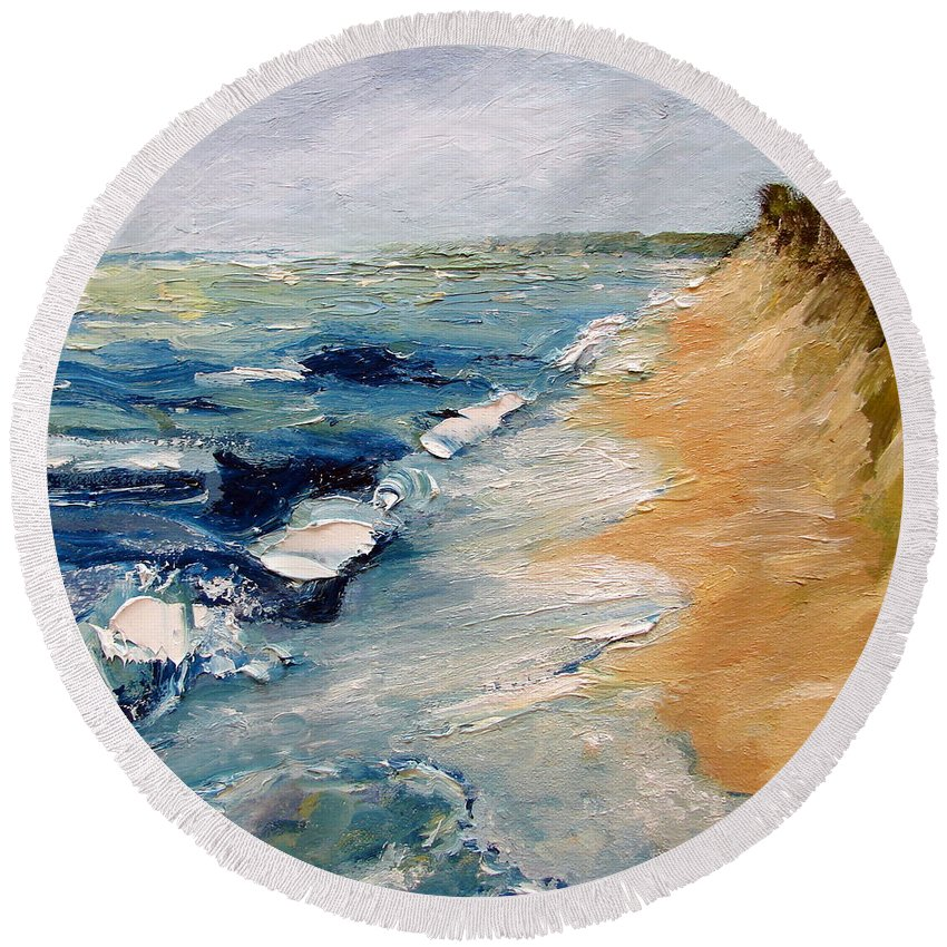Whitecaps Round Beach Towel featuring the painting Whitecaps On Lake Michigan 3.0 by Michelle Calkins