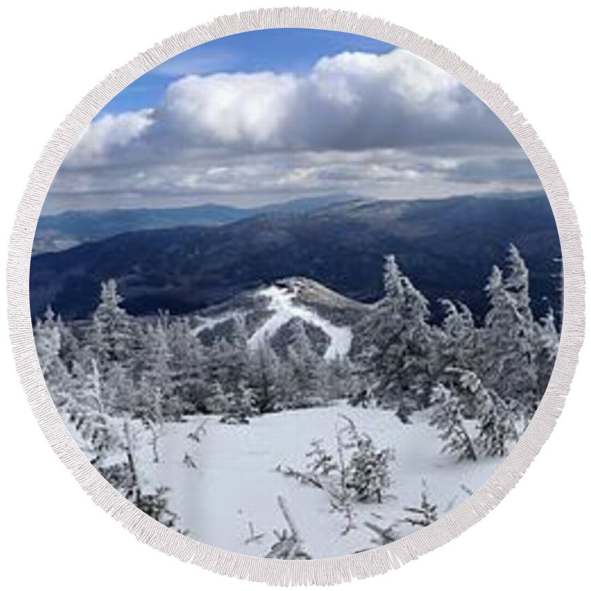Whiteface Round Beach Towel featuring the photograph Whiteface Mountain View On Sale Now by Michael French