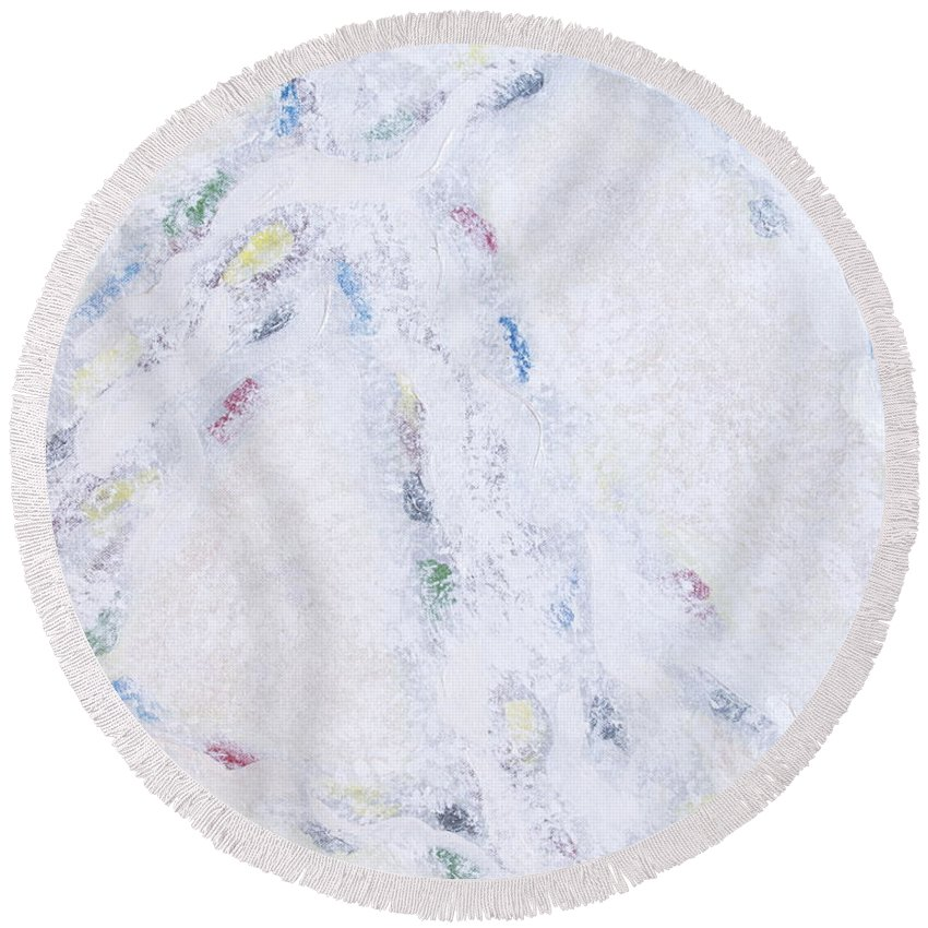 Abstract Round Beach Towel featuring the painting Whiteout by Cindy Lee Longhini