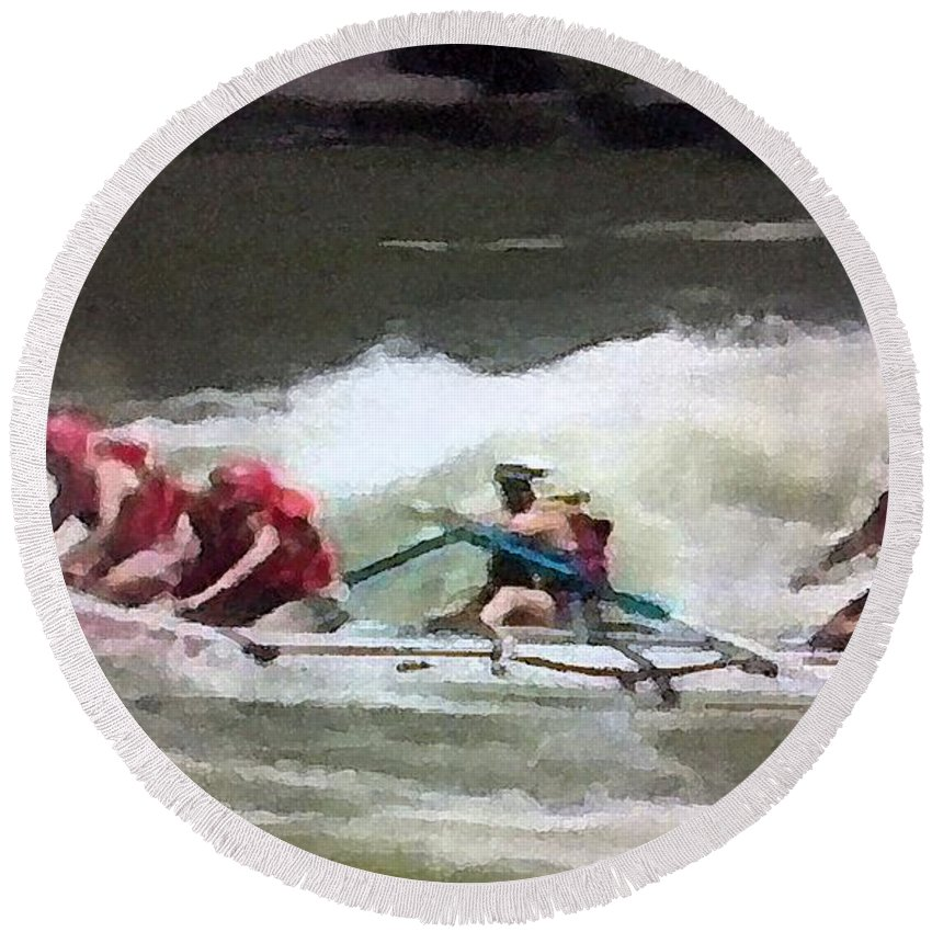 Whitewater Round Beach Towel featuring the painting Whitewater Rafting by George Pedro