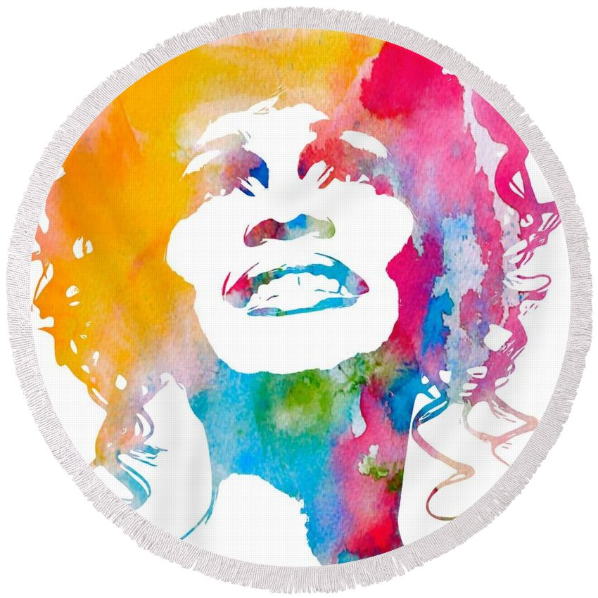 Whitney Houston Round Beach Towel featuring the digital art Whitney Houston by Dan Sproul