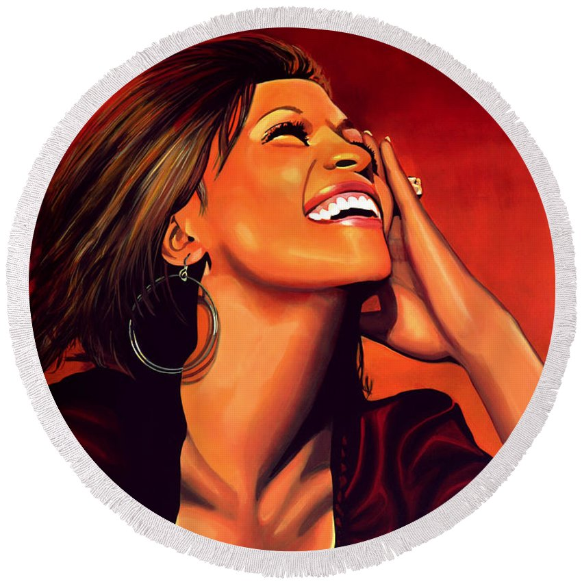 Whitney Houston Round Beach Towel featuring the painting Whitney Houston by Paul Meijering