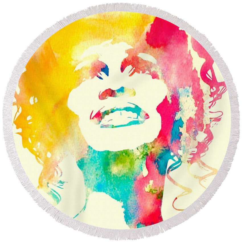 Whitney Houston Round Beach Towel featuring the mixed media Whitney Houston Watercolor Canvas by Dan Sproul