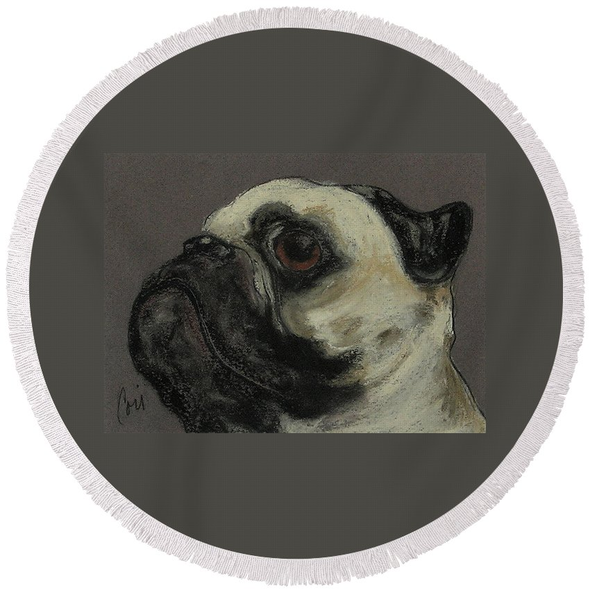 Pastel Round Beach Towel featuring the drawing Who Me by Cori Solomon